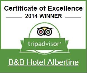BB Hotel Albertine Certificate of Excellence at TripAdvisor